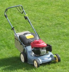 Benzin-Rasenmäher mit Heckauswurf und Grasfangbox
